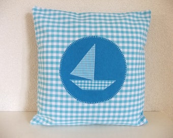 Cushion with boat, cushion cover, boat, turquoise plaid