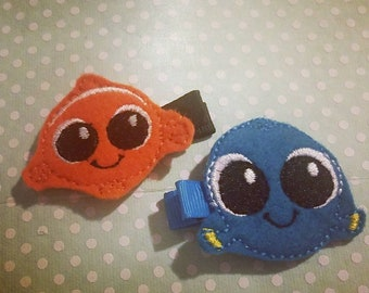 Nemo and Dory hair clips