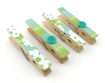 Decorative Clothespin Magnets, Set of 4, Magnetic Clips, Refrigerator, Magnet Clips, Strong Magnets, Buttons, Blue, Green, White, Floral