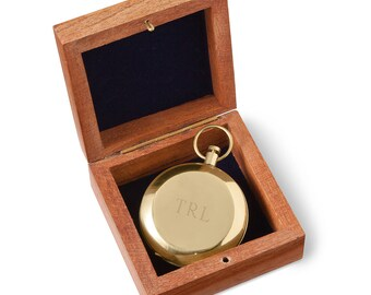 Personalized Monogrammed Gold, Silver or Antiqued Compass   Engraved Pocket Compass in Box   Groomsmen Gift   Graduation or Baptism Compass