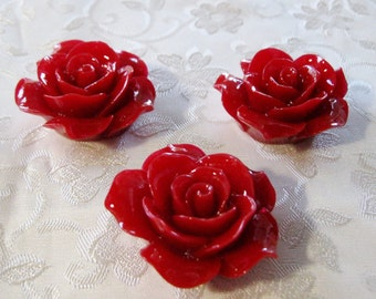 """Drilled Large Deep Dark Red Rose Flower Beads With Holes 1 1/4"""" 33mm Acrylic Lucite Resin 935"""
