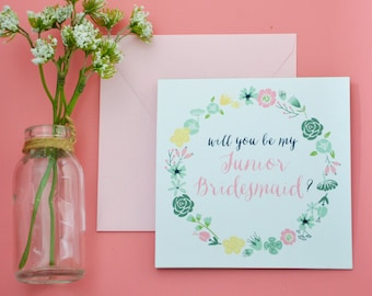 Junior Bridesmaid Card - Floral Will You Be my Junior Bridesmaid Card - Mint, Blush and Navy