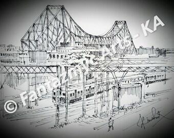 Side view of Howrah bridge, Kolkata, India