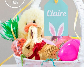 Easter basket tags etsy easter basket name tags easter gift tag editable fillable pdf personalized easter baskets negle Images