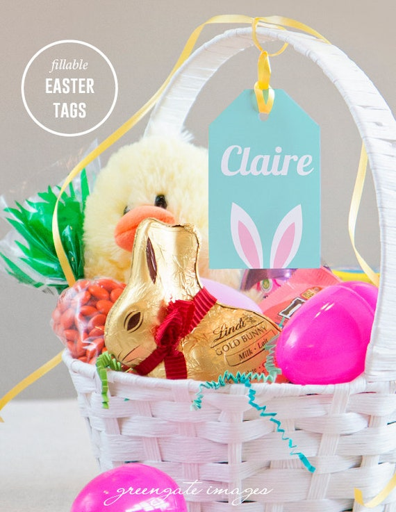 Easter basket name tags easter gift tag editable fillable easter basket name tags easter gift tag editable fillable pdf personalized easter baskets favors treats digital printables gift tags negle Images