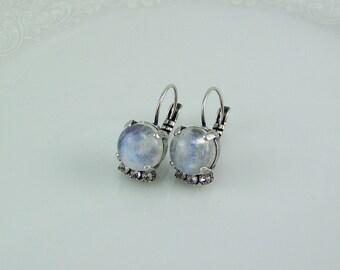 Rainbow Moonstone Earrings, Natural Stone Earrings, Natural AAA Moonstones, Gemstone Earrings, Rainbow Moonstone, June Birthstone,Moonstone