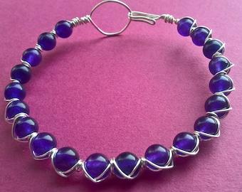 Wire wrapped semi-precious Amethyst bracelet