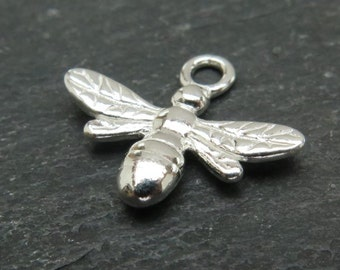 Sterling Silver Bee Pendant 13mm