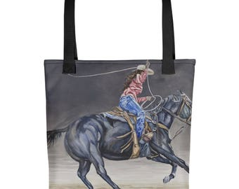 Cowgirl Roping Tote bag