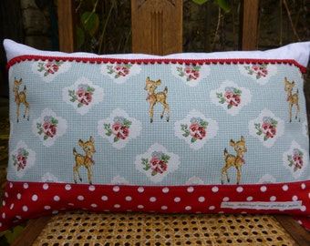 """cushion pastel vintage deco for child, creative fabric and PomPoms """"My small fawns"""""""