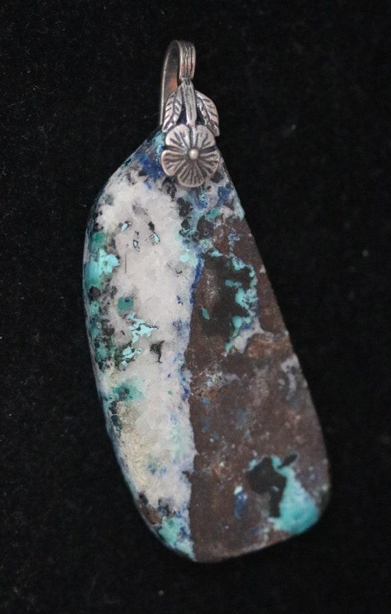 Shattuckite pendant, white brown dark blue aqua, pewter bail 71ct