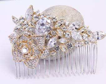 Wedding hair comb gold Bridal hair comb Crystal hair comb gold Wedding hair accessories Bridal hair piece Wedding accessories Wedding comb
