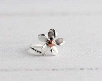 Plumeria Cartilage Helix Hoop Earring,Cartilage earring, flower Cartilage, Spring jewelry, Frangipani earring, Gifts for her, dainty jewelry