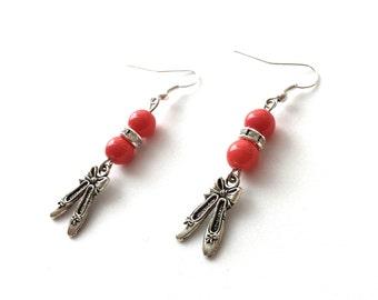 Ballet slipper earrings, coral glass pearls