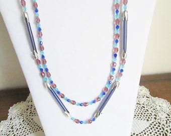 Czech Beaded Double Strand Necklace and Earring Set, Dark Blue Cylinder Glass Czech Beads, Amethyst, Royal Blue, Teal Czech Glass Beads
