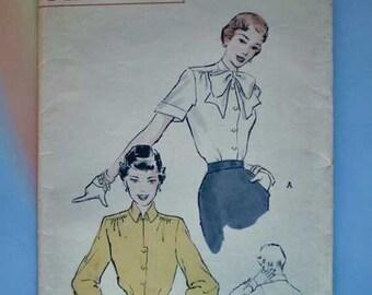 Vintage 50s Secretary Blouse Pattern Uncut  34