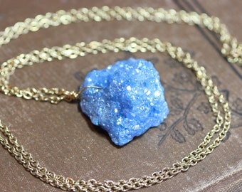 Blue Druzy Necklace Raw Gemstone Blue Quartz Crystal Nugget Agate Pendant