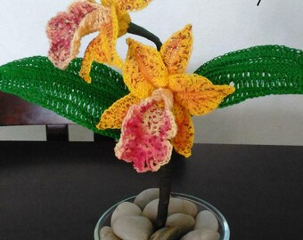 Crochet Cattleya Orchid Pattern, Hawaiian Leopard Orchid, Crochet Orchid Pattern, Crochet Flower Pattern