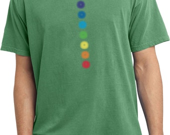 Yoga Clothing For You Mens Shirt Glowing Chakras Pigment Dyed Tee T-Shirt = PC099-GLOWING