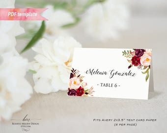 Printable Burgundy Floral Tent Place Card Editable PDF Template Wedding Reserved Card Food Label & Tent place card | Etsy