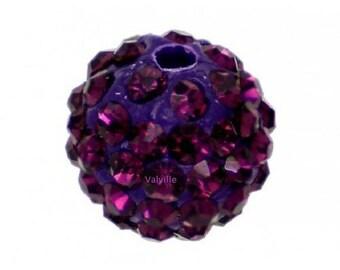 Amethyst purple disco ball beads with Rhinestones
