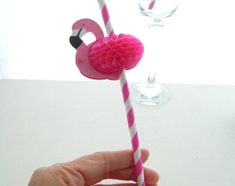 6 Flamingo Paper Straws, Party Pink Flamingo Straws. Tropical Coctail Straws, Blue Paper Straws, Flamingo paper straws