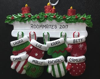 8 Family Mittens Personalized Christmas Ornaments / Family of Eight Ornament / Mittens on the Mantel Family Ornament