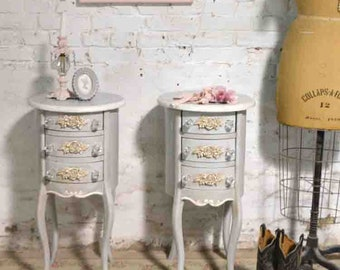 Painted Cottage Chic Shabby Romantic French Round Night Table