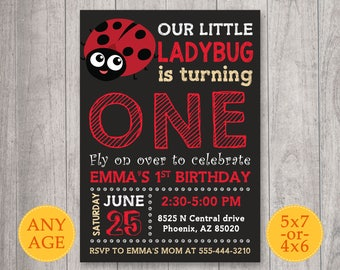Ladybug Invitation, Ladybug birthday invitation, Printable Ladybug Party Invite, Ladybug Girl first birthday invite, 1st birthday invitation