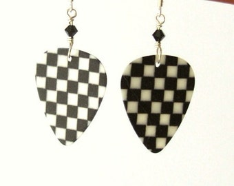 Black and White Checker Board Checkerboard Guitar Pick Earrings rocker musician music stocking stuffers party favor shower gift rockabilly