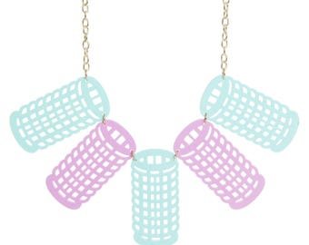 Hair Rollers necklace - laser cut acrylic