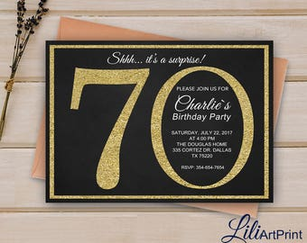 70th Birthday Invitation, Gold Invitation,  Gold Glitter Birthday Invite, Digital file 9