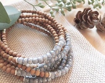 Sandalwood, Silverite Sapphires and Sterling Silver Bracelet - Bohemian Jewelry