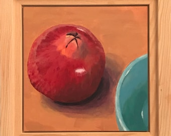 "SALE, Acrylic painting, still life pomegranate on 6""x6"" gessoed panel"