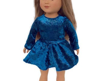 18 Inch Doll Skate Costume, Glittery Blue Leotard and Skirt, Ballet Costume, Gymnastics Leotard, Girl Doll Clothes