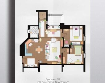 Friends Inspired Poster Print - Monica's Apartment Floor Plan - A2 Size | Digital Download | Wall Art | TV Show Art | Minimalist