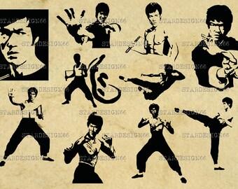 Digital SVG PNG JPG Bruce Lee, silhouette, vector, clipart, instant download