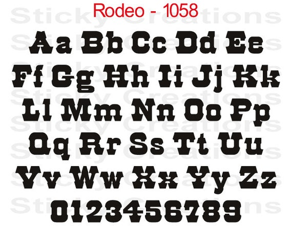 Custom Text Rodeo Font Bold Customized Personalized Letters