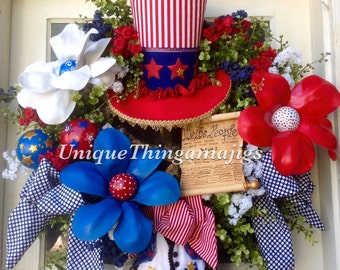 July 4th, Patriotic, Uncle Sam, Independence Day Holiday Wreath..Please see Production Time