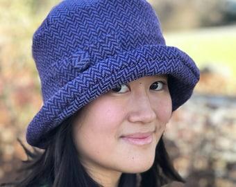 Handwoven Cloche Hat- Periwinkle Herringbone- Annie