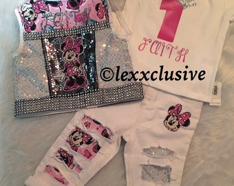 Birthday Princess First Birthday Outfit Sparkle Glitter Distressed Denim Disney Mouse Set Jeans Bling Rhinestones