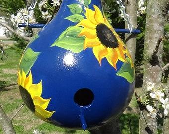 Navy And Sunshine Brilliant Sunflower Wren Gourd Birdhouse
