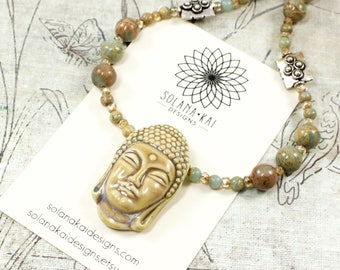 Buddha Necklace For Women | Buddha Jewelry Gift For Women | Yoga Jewelry For Women | Buddha Gemstone Jewelry | Solana Kai Designs | Portland