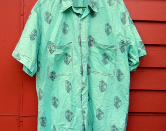 80s/90s Seafoam Native American Chief All Over Novelty Print Button Up Traditional Western Mens L