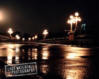 Night Noir Decor, Rainy Decor, Urban Cityscape at Midnight, Pasadena Bridge, Reflection Decor, Color Photograph 8x10 11x14 16x20
