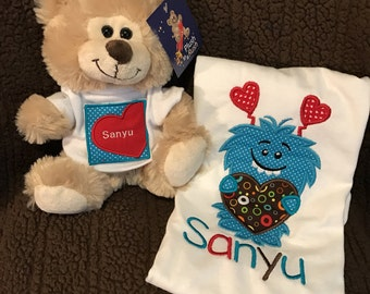 Kids gift, monster heart shirt with matching bear with shirt, stuffed bear with personalized shirt,child and stuffed snimal matching shirts