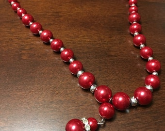 Adjustable Red Beaded Necklace