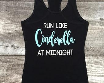 Girls Juniors Womens Teen Tween Exercise Running Workout training tank top shirt team Run Like Cinderella at midnight Disney summer TSLM