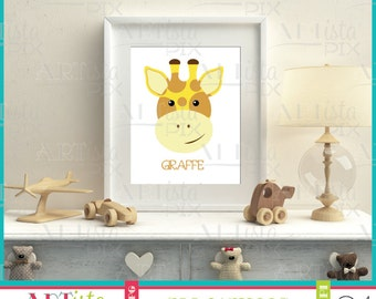 Nursery Wall Art, Zoo Animals Wall Art, Giraffe Wall Art, Printable Wall Art, Instant Download