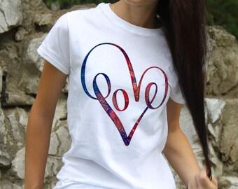 Love Tee - Art T-shirt - Fashion Tee - White shirt - Printed shirt - Women's T-shirt